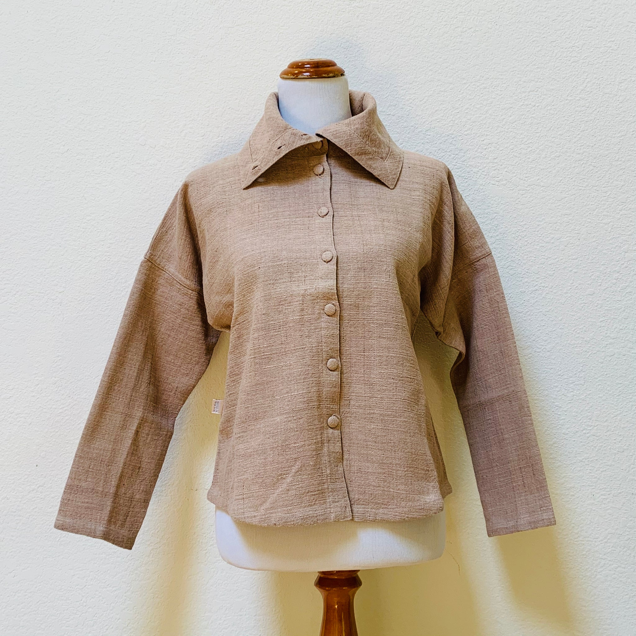 Long Sleeve Large Collar Blouse 1075T 4D - Size 4 - Light Brown