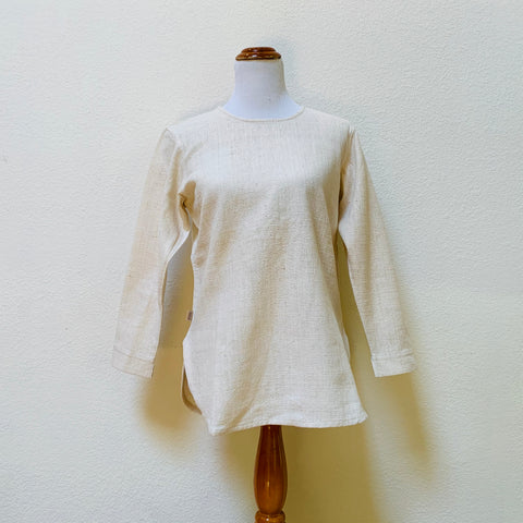 Round-Neck Long Sleeve Shirt 1040L 2A - Size 2 - Natural White
