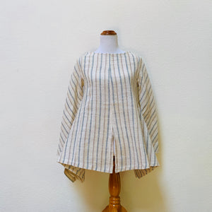 Rectangular Bottom Pullover Shirt 1332E 4B - Size 4 - Natural White With Brown / Indigo Stripes