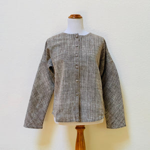 Long Sleeve Buttoned Shirt / Jacket 1076J 6C - Size 6 - Brown / Natural White