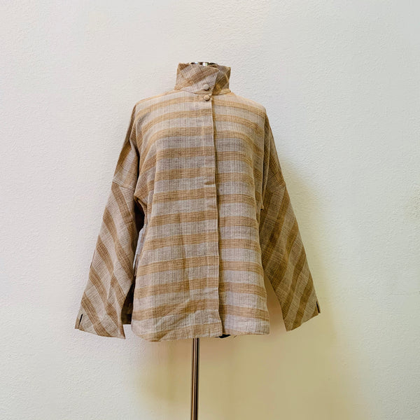 Jacket / Blouse Unisex 2152G - Size 4 & 6 - Light Brown / Pinkish Brown Stripes