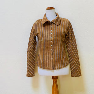Long Sleeve Shirt / Blouse / Jacket With Shell Buttons 1139BC 4D - Size 4 - Brown / Beige / Indigo Stripes