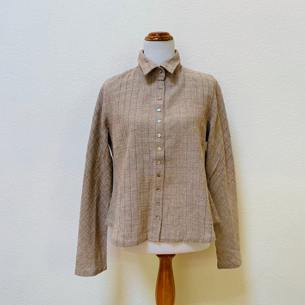 Long Sleeve Shirt / Blouse 1277Q 8C - Size 8 - Brown / Beige / Natural White Stripes