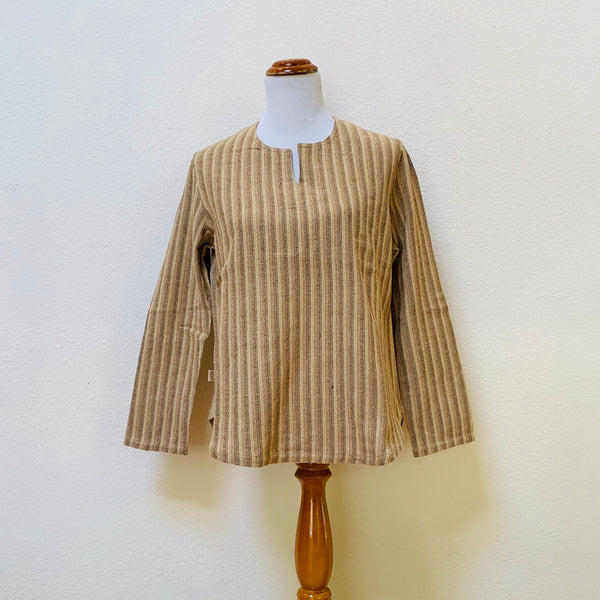 Key-Neck Long Sleeve Shirt Unisex 1191S 6B - Size 6 - Natural White / Light Brown / Olive Brown / Brown Stripes