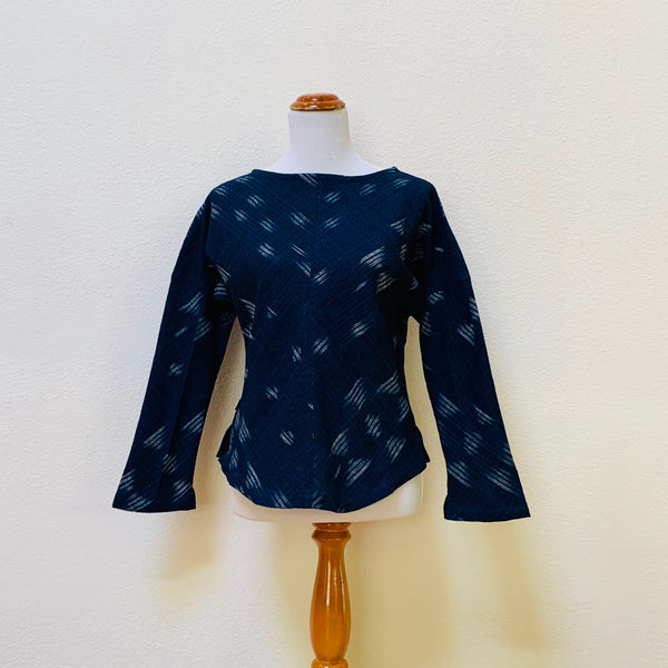Boat-Neck Long Sleeve Shirt 1043K 4B - Size 4 - Kasuri Weave, Indigo / Natural White