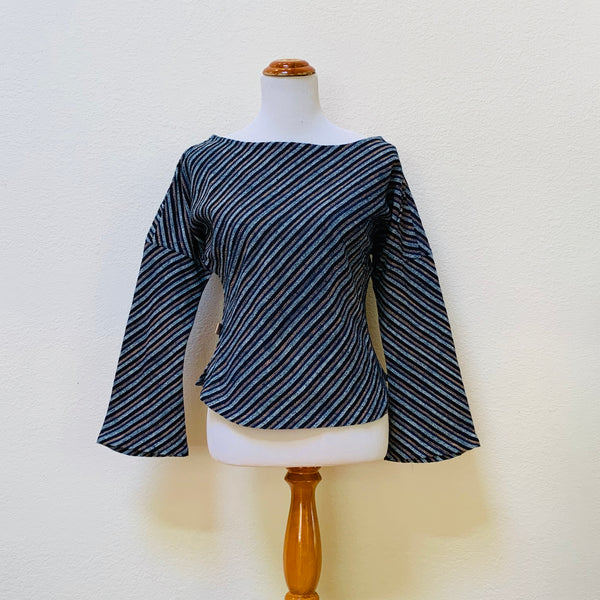 Long Sleeve Shirt Square Back 1308C 2B - Size 2 - Indigo / Light Blue / Light Brown Stripes