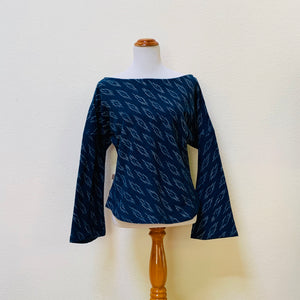 Long Sleeve Shirt Square Back 1308D 4A - Size 4 - Kasuri Weave, Indigo / Beige