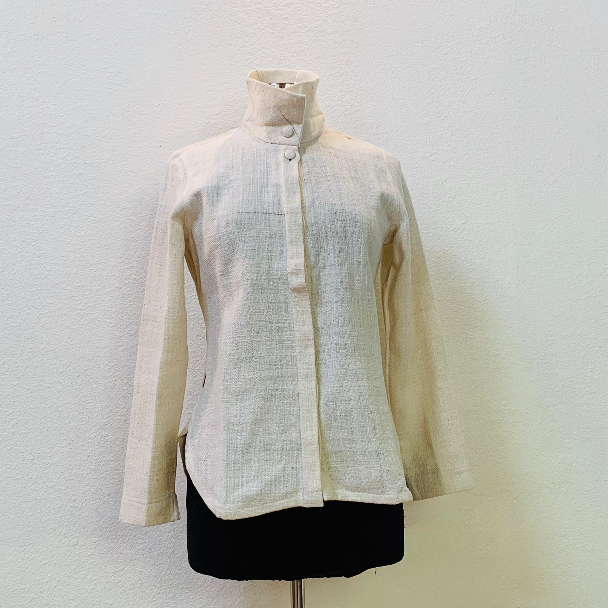 Long Sleeve Shirt / Blouse / Jacket 2164Q 4A - Size 4 - Natural White