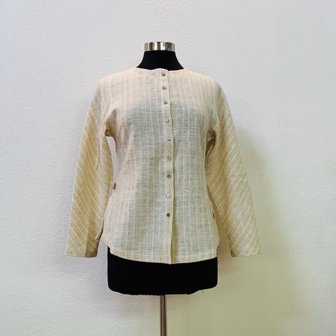 Long Sleeve Shirt / Jacket With Shell Button 1318E 4B - Size 4 - Natural White With Yellow Stripes
