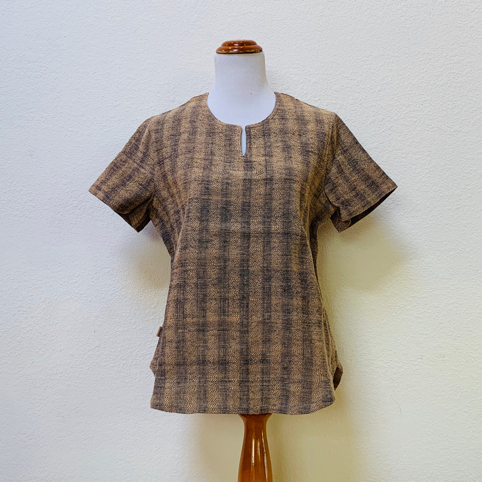 Key-Neck Short Sleeve Hemp Shirt Unisex 1188K 6B - Size 6 - Brown / Indigo Stripes