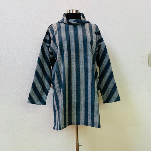 Turtleneck Pullover Shirt Unisex 1162H FB - Universal Size - Light Blue / Indigo / Beige Stripes