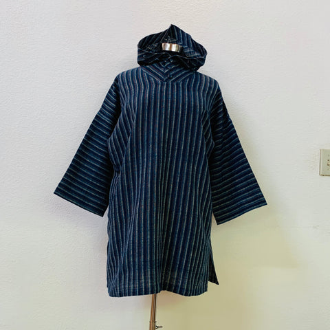 Long Sleeve Hoodie Pullover Unisex 4064J 6A - Size 6 - Indigo With Multi-Colored Stripes