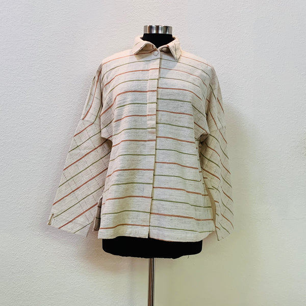 Jacket / Blouse 2152G 4B - Size 4 - Olive Green / Pinkish Brown Stripes
