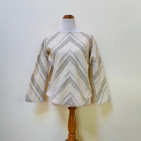 Boat-Neck Long Sleeve Shirt, Cotton & Hemp Blend 1043H 6F - Size 6 - Multi-Colored Stripes