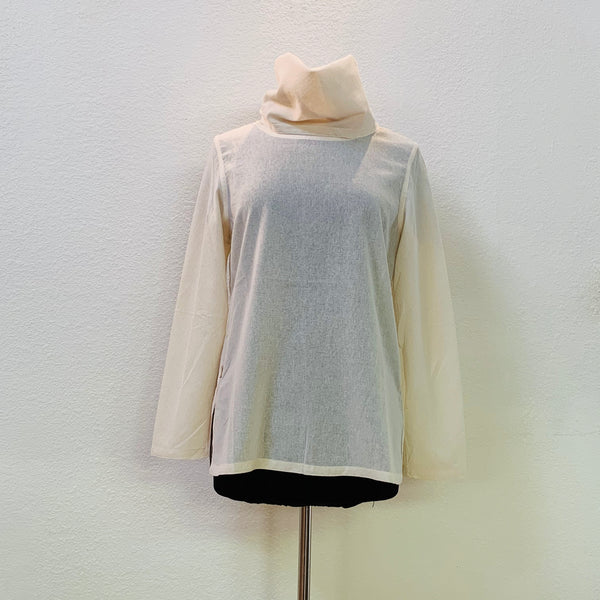 Turtleneck Long Sleeve Inner Shirt Unisex 9119B - Size 2-8 - Natural White