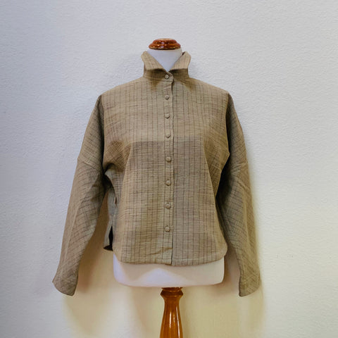 Long Sleeve Shirt / Blouse Cotton & Hemp Blend 1160AB 4E - Size 4 - Olive Green / Brown