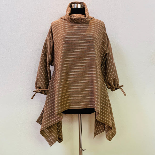 Angel Sleeve Pullover Tunic Cotton & Hemp Blend 1072J 4E - Size 4 - Pinkish Brown Stripes