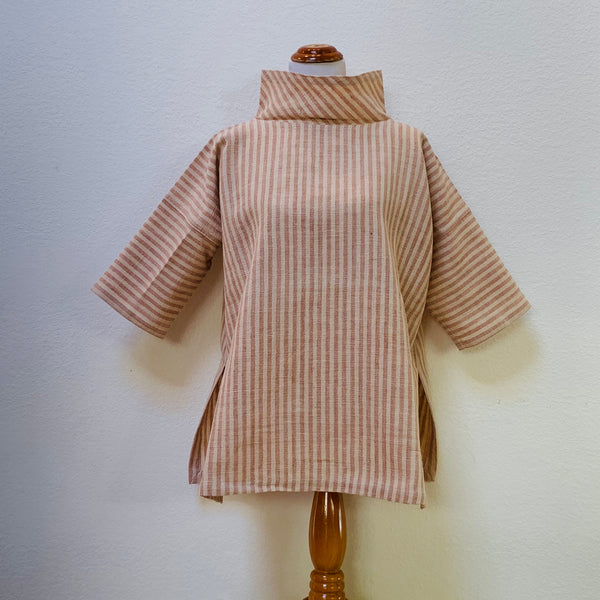 Short Sleeve Wide Turtleneck Pullover Shirt Unisex 1126AA FA - Universal Size - Natural White / Pinkish Beige Stripes