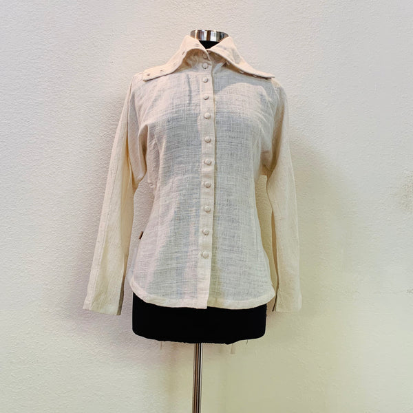 Wide Collar Blouse / Jacket / Shirt 1169N 4A - Size 4 - Natural White