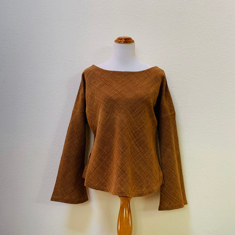 Long Sleeve Hemp Shirt With Square Back 1308B 6B - Size 6 - Brown With Indigo Pinstripes