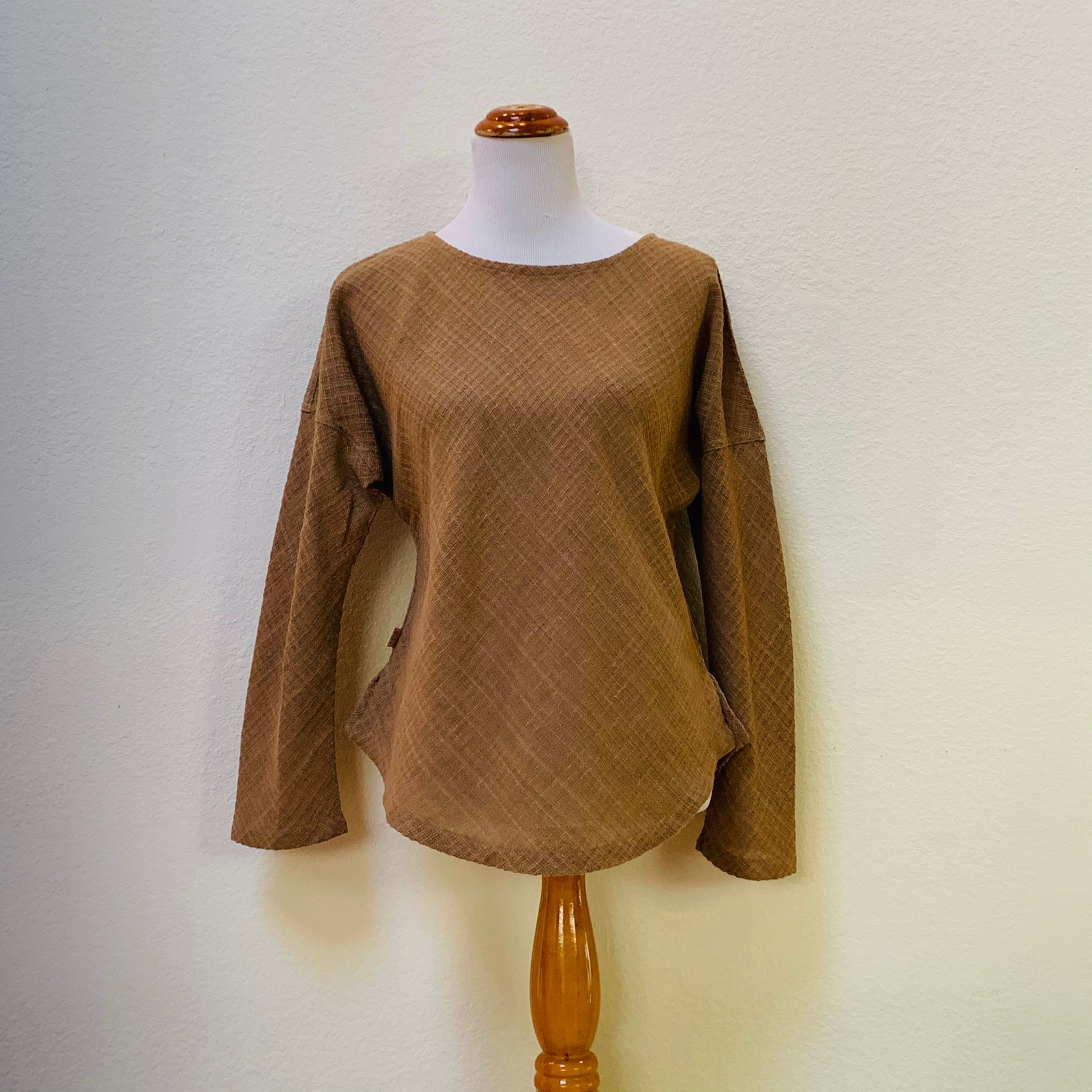 Boat-Neck Long Sleeve Shirt 1115AG 4F - Size 4 - Brown