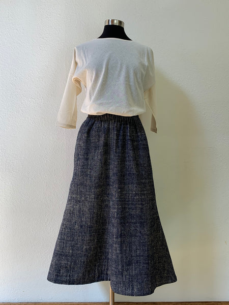 Flared-Hem Long Skirt 3209E 6A - Size 6 - Indigo