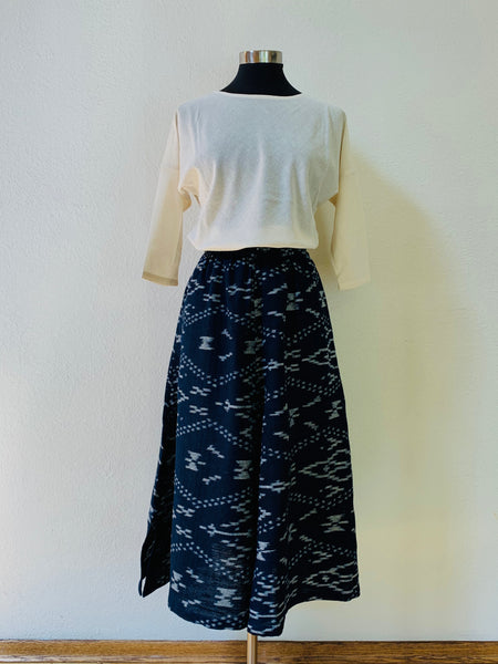 Flared Skirt 3012AZ 4D - Size 4 - Kasuri Weave, Indigo / Natural White