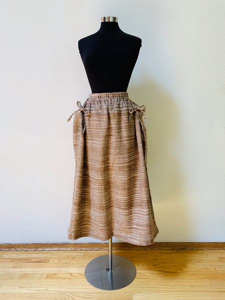 Wrap Skirt With Strings 3022AM 4B - Size 4 - Brown / Natural White