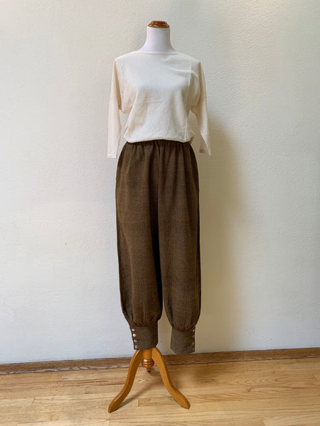 Hemp Harem Pants with Buttoned Hem Unisex 3100G 4A - Size 4 - Ebony