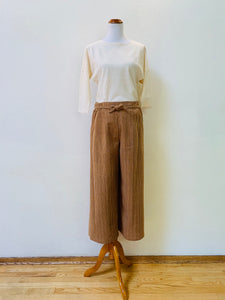 Wide Straight Pants With Strings 3169S 6D - Size 6 - Brown, Beige, Natural White