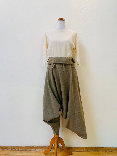 Musasabi Pants With Waist String Belt 3224A 6B - Size 6 - Olive Green