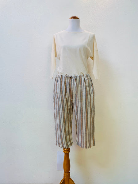 Knee-Length Drawstring Pants 3212D 6A - Size 6 - Multi-Colored Stripes