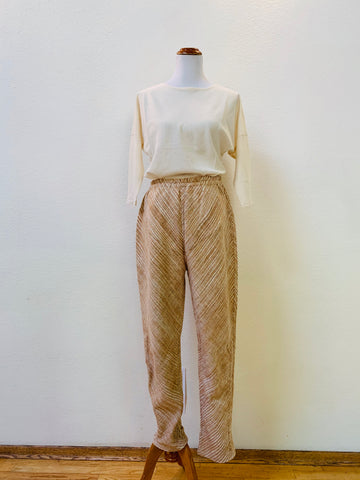 Extra Long Slim Pants with Bottom Drawstring 3006CK 8B - Size 8 - Beige / Natural White