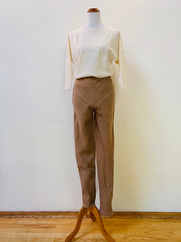 Extra Long Slim Pants with Bottom Drawstring 3006CM 4A - Size 4 - Pinkish Brown / Indigo