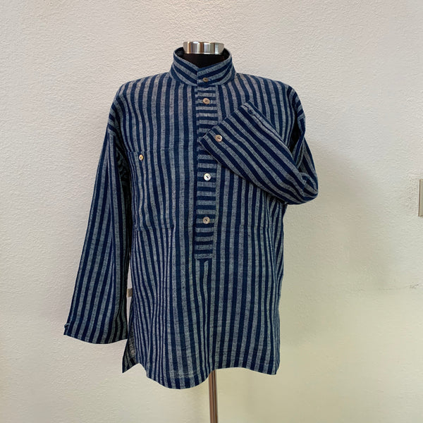 Men's Pullover Shirt with Banded Collar 1210J 6A - Size 6 - Indigo / Natural White Stripes
