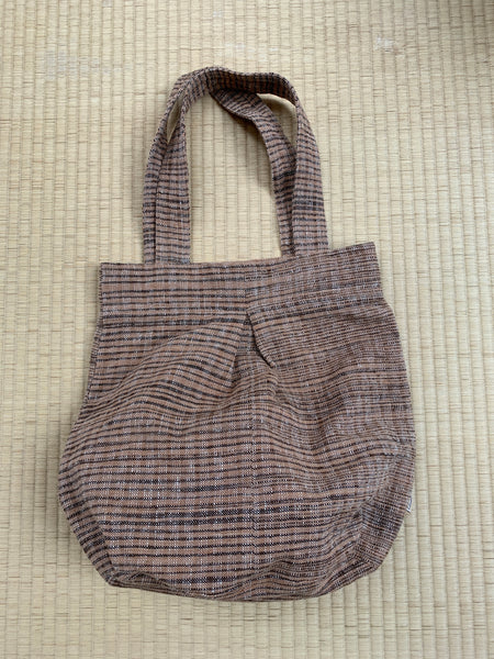 Hobo Style Two-Handled Cotton & Hemp Blend Bag 7072L - Brown / Pinkish Brown / Natural White