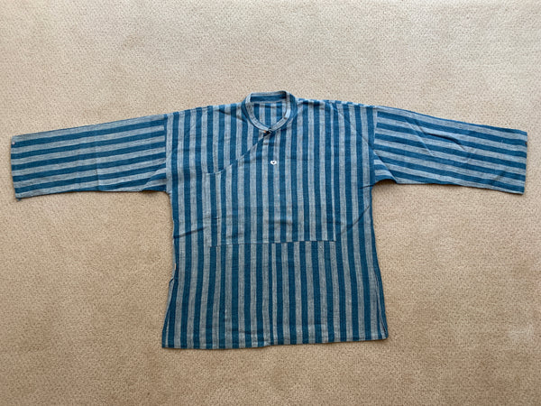 Men's Banded Collar Long Sleeve Cotton & Hemp Blend Shirt 9117M 8A - Size 8 - Indigo / Light Blue Stripes
