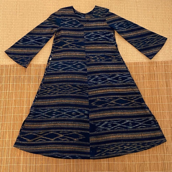 V-Neck Dress 4310E 4A - Size 4 - Kasuri Weave, Indigo With Multi-Colored Stripes