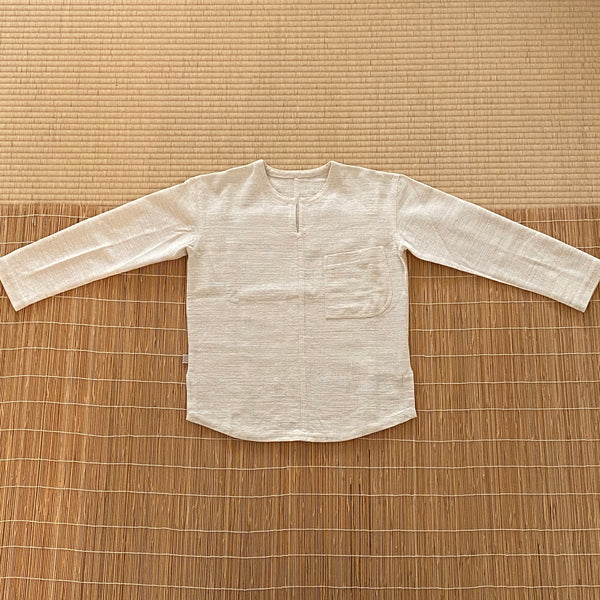 Key-Neck Long Sleeve Shirt with Pocket Unisex 1335B 4A - Size 4 - Natural White