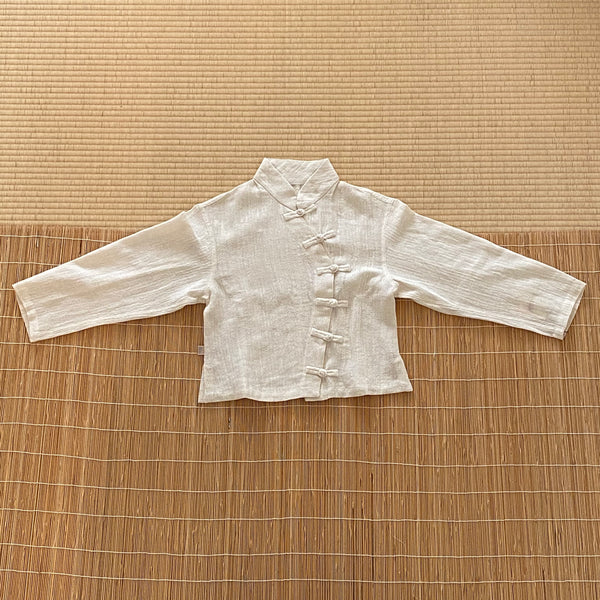 Long Sleeve Mandarin Collar Shirt / Jacket 2063J 4A - Size 4 - Natural White