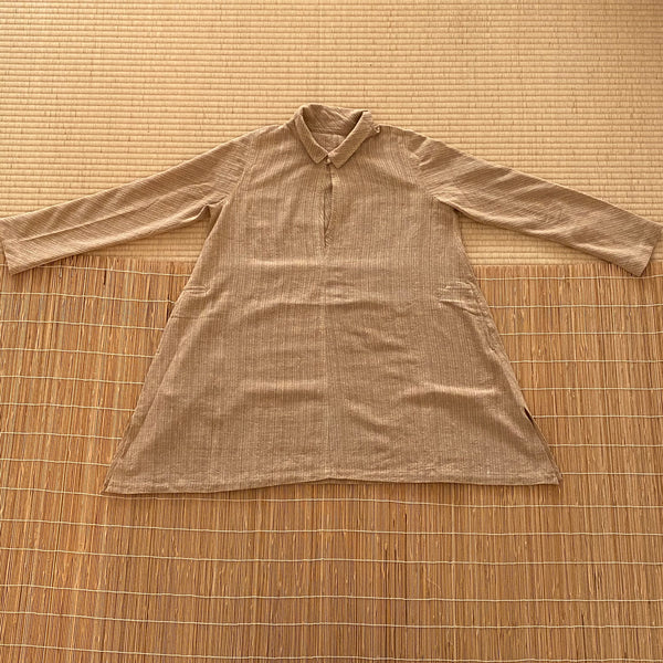 Buttoned-Collar Tunic 1203AH 6C - Size 6 - Beige Stripes
