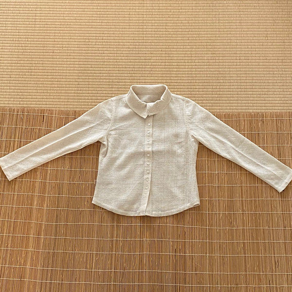 Long Sleeve Shirt / Blouse / Jacket With Shell Buttons 1139BB 4A - Size 4 - Natural White