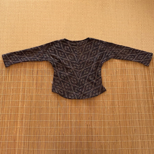 Boat-Neck Long Sleeve Shirt 1043K 6A - Size 6 - Kasuri Weave, Indigo / Light Blue / Tan
