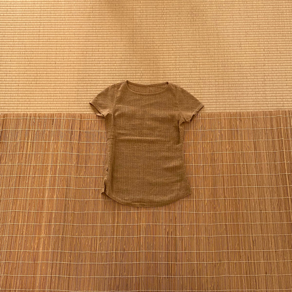 Short Sleeve Cotton & Hemp Shirt / Tunic 1217J 2C - Size 2 - Beige / Brown