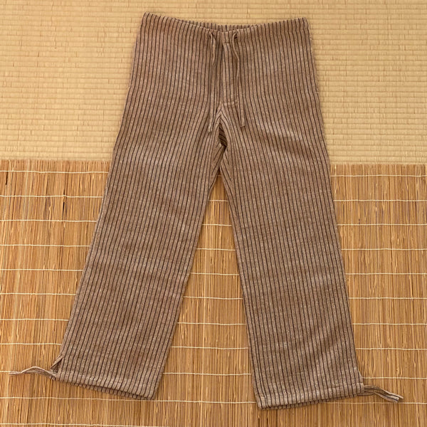 Straight Pants With Drawstring 3093S 4A - Size 4 - Brown / Indigo Stripes