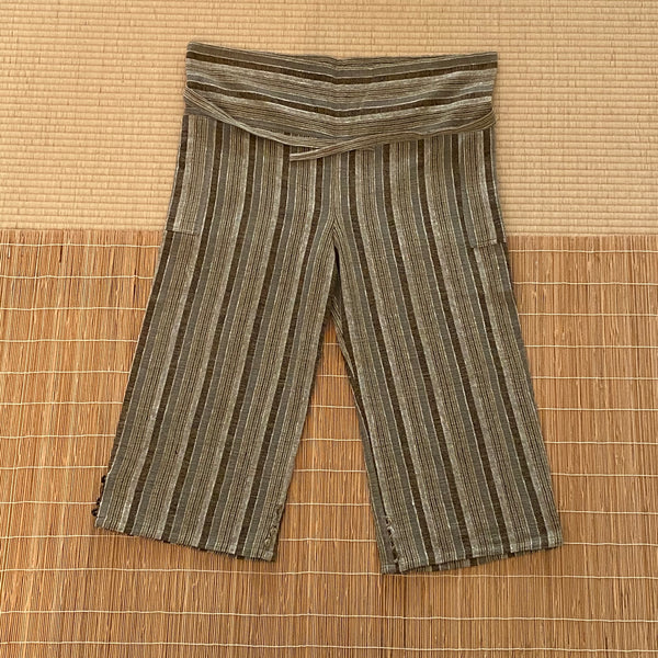 Thai Style Straight Leg Pants 3201H 4A - Size 4 - Olive Green / Brown / Natural White Stripes