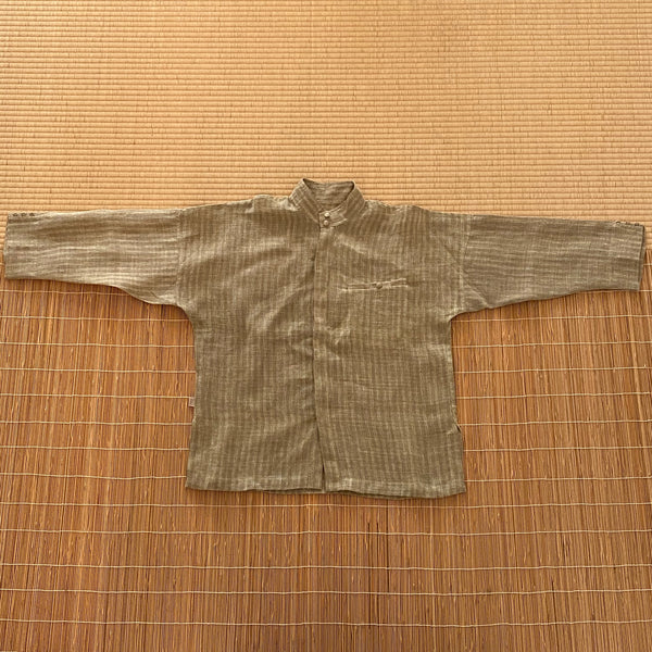 Men's Banded Collar Hemp Shirt 2060AC 8A - Size 8 - Olive Green