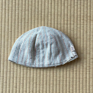 Cotton Dome Cap7216A - Size L - Natural White With Indigo / Brown Stripes