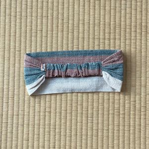 Hair Band 7042U - Universal Size - Pink / Indigo / Natural White Stripes