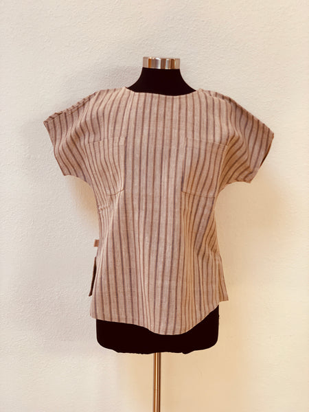 Boat-Neck Short Sleeve Shirt UNISEX 1065M 6C - Size 6 - Beige/Indigo Stripes